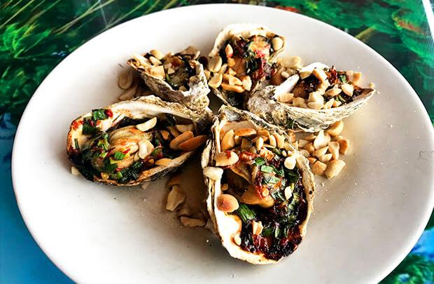 ランコービーチの焼き牡蠣