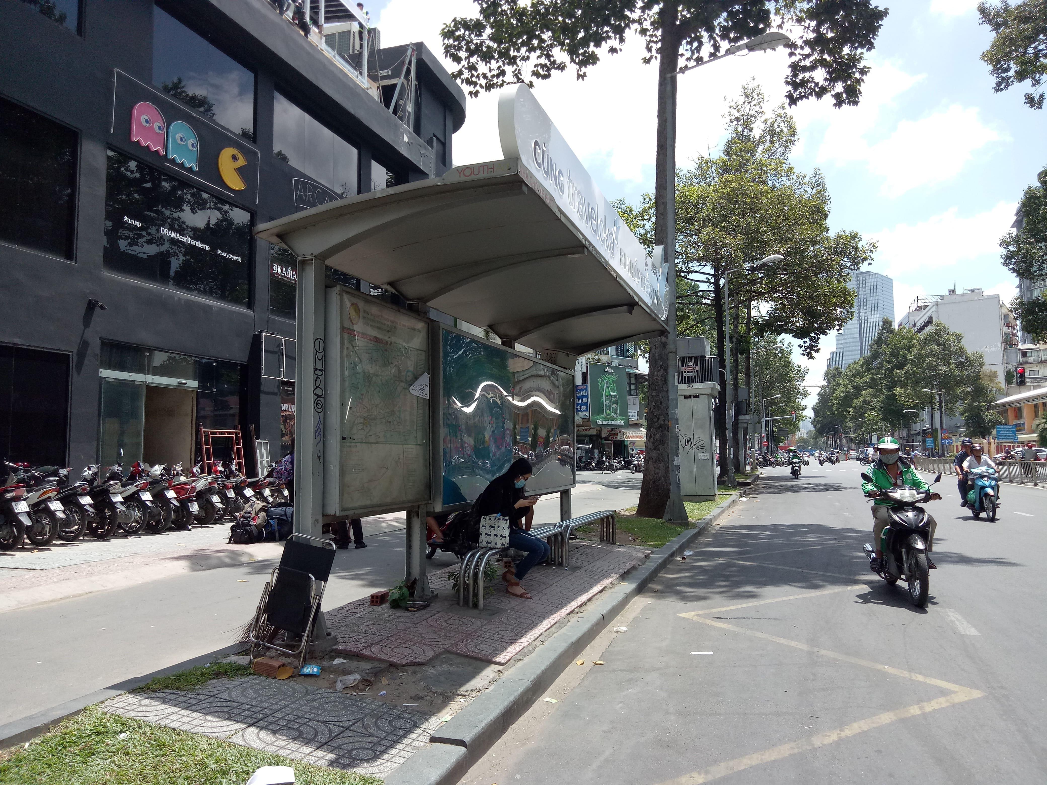 チャンフンダオ通り沿いのバス停