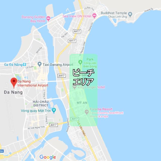ミーケービーチエリアマップ